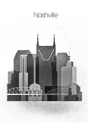 Graphic Skyline  Of Nashville, Tennessee Poster by Dim Dom