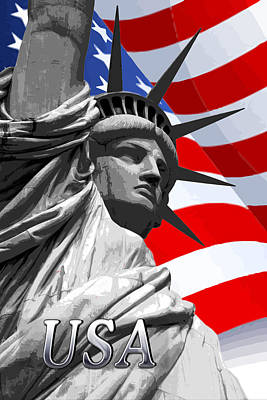 Graphic Statue Of Liberty With American Flag Text Usa Poster by Elaine Plesser