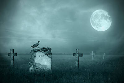Gravestones In Moonlight Poster by Jaroslaw Grudzinski