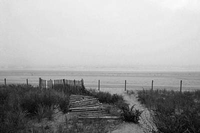 Gray Day At The Beach Fallen Fence Lynn Ma Nahant Ma Poster by Toby McGuire