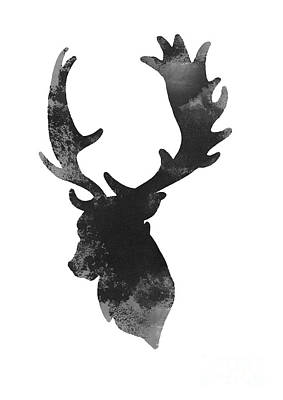 Gray Deer Art, Deer Giclee Fine Art Print, Deer Head Illustration Poster