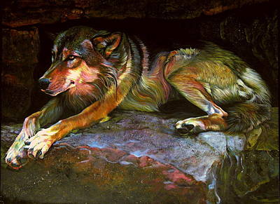 Gray Wolf Rock Poster by Kelly McNeil