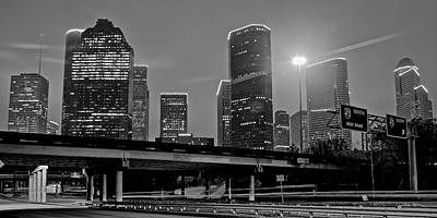 Grayscale Houston Poster by Frozen in Time Fine Art Photography