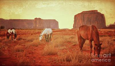 Grazing Horses Poster by KaFra Art