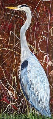 Great Blue Heron Poster by Marilyn  McNish