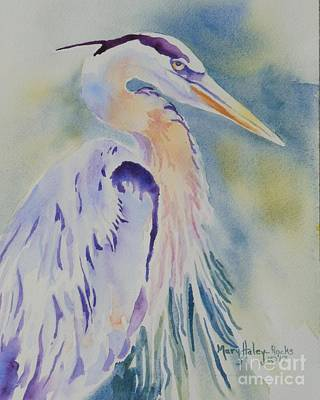 Poster featuring the painting Great Blue Heron by Mary Haley-Rocks