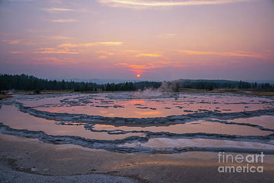 Great Fountain Geyser Sunset Reflections Poster