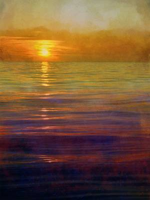 Poster featuring the digital art Great Lakes Setting Sun by Michelle Calkins