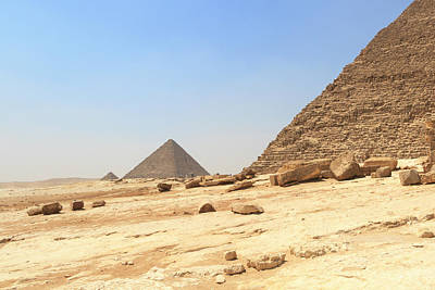 Poster featuring the photograph Great Pyramids Of Gizah by Silvia Bruno