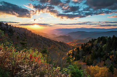 Great Smoky Mountains National Park Nc Scenic Autumn Sunset Landscape Poster