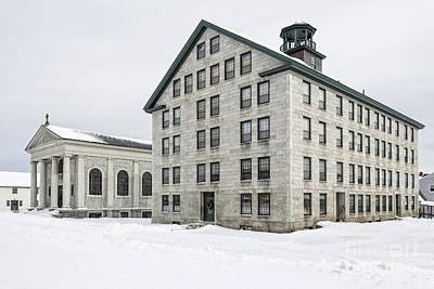 Great Stone Shaker Building In Winter Poster by Edward Fielding
