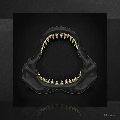 Great White Shark - Black Jaws With Gold Teeth On Black Canvas Poster