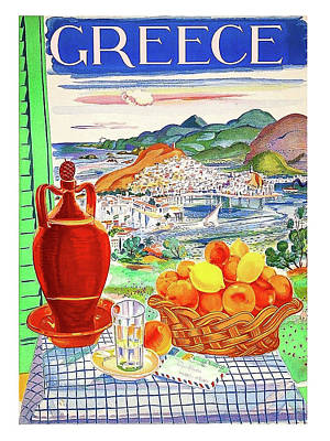 Greece Travel Poster Poster by Long Shot