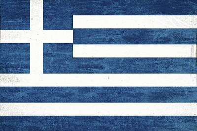 Greek Flag Grunge Poster