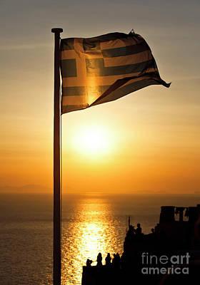 Greek Flag In Santorini Poster
