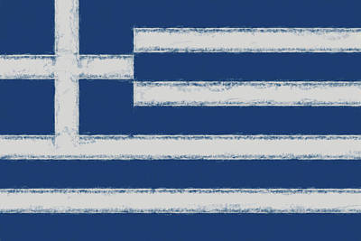 Greek Flag Smudged Poster