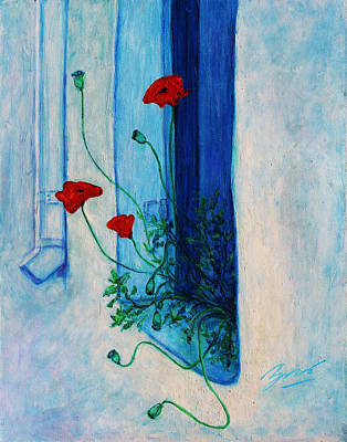 Poster featuring the painting Greek Poppies by Xueling Zou