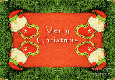Green And Red Christmas Frame Background In Flat Lay Poster