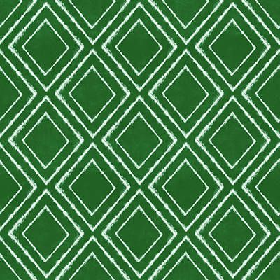 Green And White Inky Diamonds- Art By Linda Woods Poster