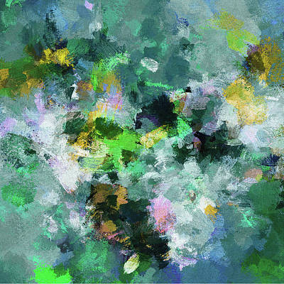 Green And Yellow Abstract Art Poster