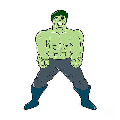 Green Angry Man Clenching Fist Cartoon Poster by Aloysius Patrimonio