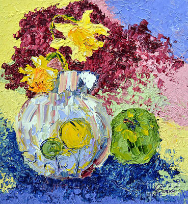 Green Apple And Daffodils Poster by Lynda Cookson