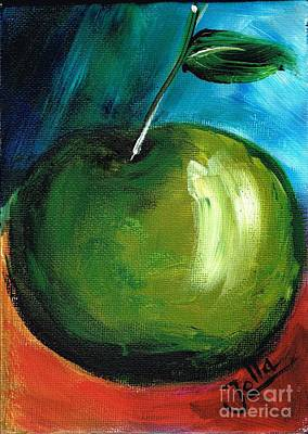 Poster featuring the painting Green Apple by Jolanta Anna Karolska