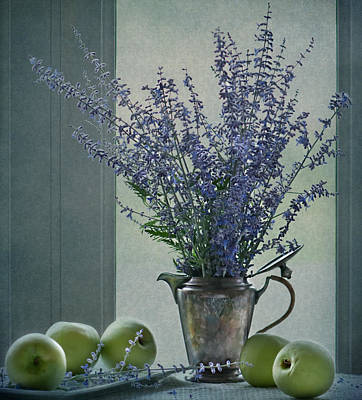 Green Apples In The Window Poster by Maggie Terlecki