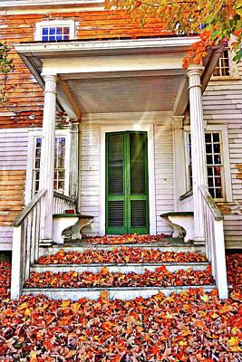 Green Autumn Door Poster by Joan Reese