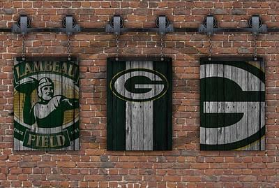 Green Bay Packers Brick Wall Poster by Joe Hamilton