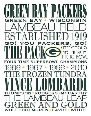 Green Bay Packers Subway Art Poster by Marian Schumer