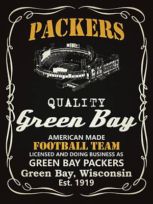 Green Bay Packers Whiskey Poster by Joe Hamilton