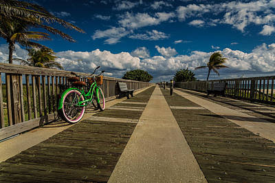 Green Bike At The Beach Poster