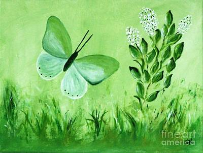 Poster featuring the painting Green Butterfly by Sonya Nancy Capling-Bacle