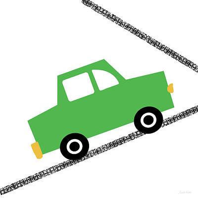 Green Car On Road- Art By Linda Woods Poster