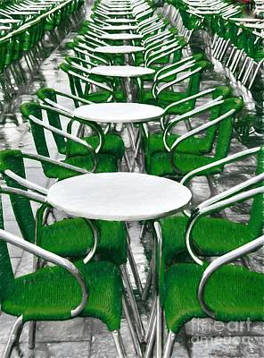 Green Chairs In Venice Poster