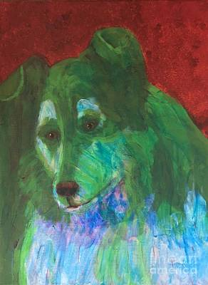 Poster featuring the painting Green Collie by Donald J Ryker III