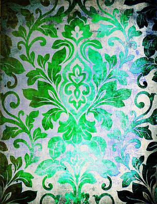 Green Damask Pattern Poster