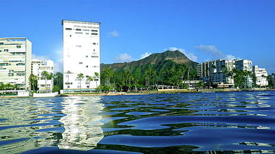 Green Diamond Head From The Water Poster by Erika Swartzkopf