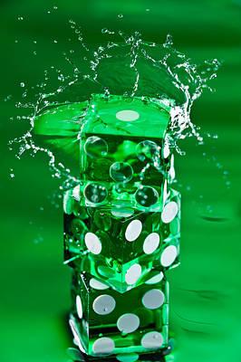 Green Dice Splash Poster by Steve Gadomski