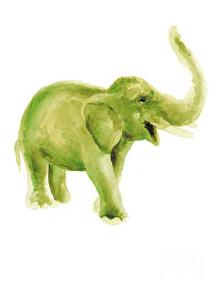 Green Elephant Watercolor Art Print Painting Poster