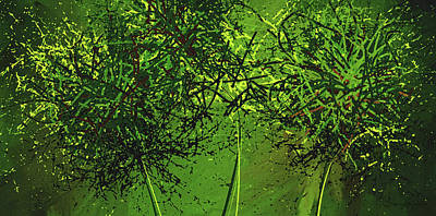 Green Explosions - Green Modern Art Poster by Lourry Legarde