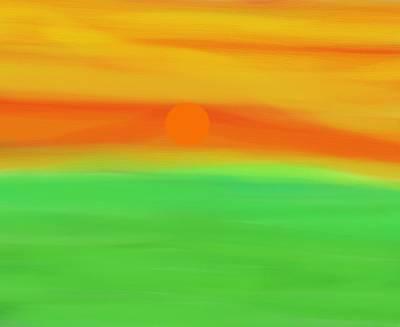 Green Field Summer Sunset Poster