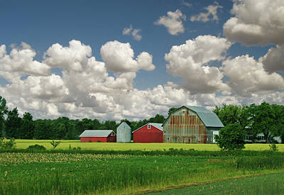 Green Fields And Popcorn Skies Poster by Garth Glazier