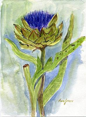 Green Globe Artichoke Bloom Poster