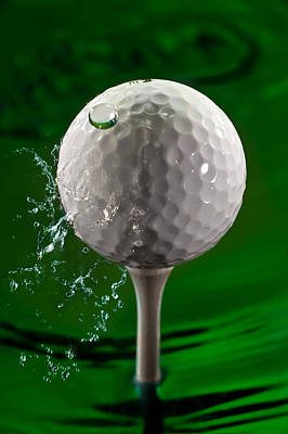 Green Golf Ball Splash Poster by Steve Gadomski