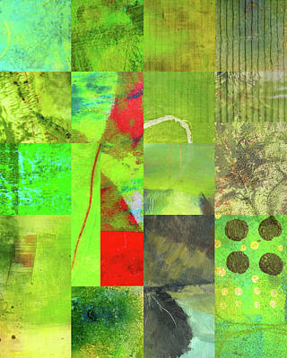 Poster featuring the digital art Green Grid by Nancy Merkle