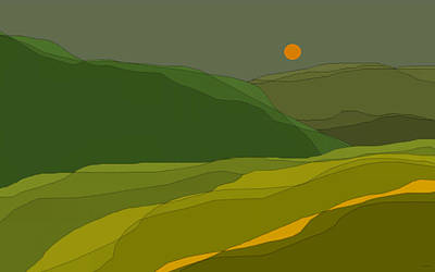 Green Hills Poster by Val Arie