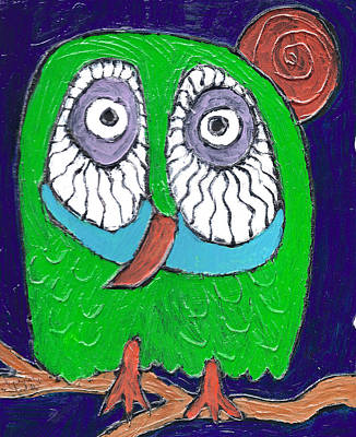 Green Hooter Poster by Wayne Potrafka