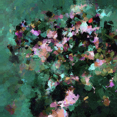 Green Landscape Painting In Minimalist And Abstract Style Poster by Ayse Deniz